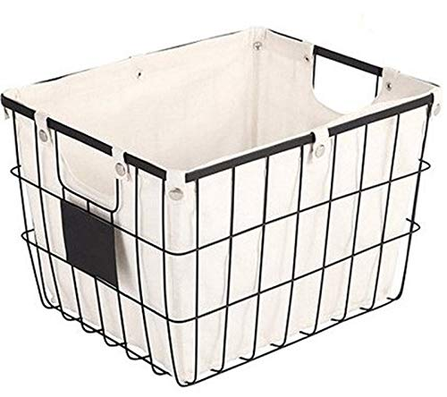 Better Homes and Gardens Small Black Wire Basket with Chalkboard Label & Ivory Lining