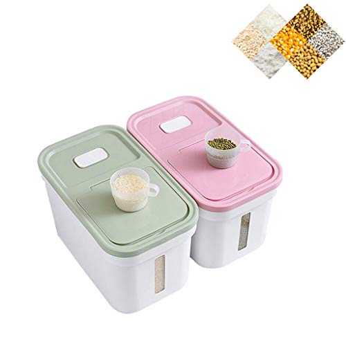 Rice Storage Container, Pantry Food Jar Rice Bucket Cereal Containers Dispenser, Food Storage Airtight Bin for Flour Sugar Baking Supplies