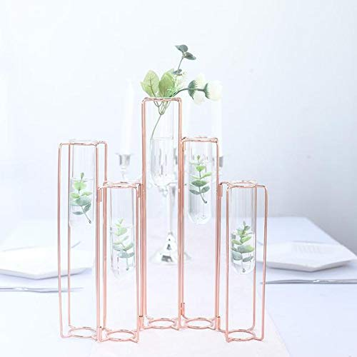 Tableclothsfactory Set of 5-15' Conjoined Rose Gold Geometric Metal Flower Vase Racks Hydroponic Test Tube Vases
