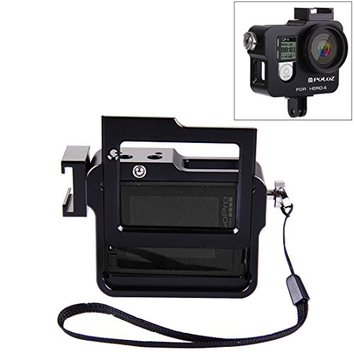 Actie camera kooi VHousing Shell CNC Aluminium Beschermende kooi met Verzekering Frame & UV Lens & Lens Cap voor GoPro HERO4(Zwart) Action camera bescherming, Zwart