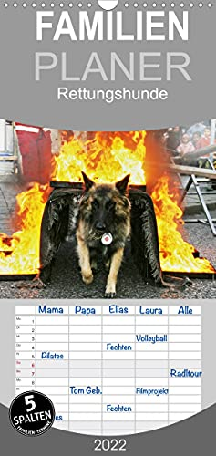 Rettungshunde - Familienplaner hoch (Wandkalender 2022, 21 cm x 45 cm, hoch)
