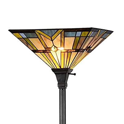 Docheer Tiffany Style 1-Light Floor Torchiere Lamp 71-inch Height, 14-inch Shade, Multi-Colored