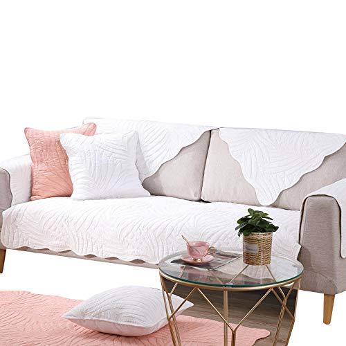 rutschfeste Couch Armchair Slipcover aus moderner Baumwolle Slipcover,Möbel Protektor,sofahusse ecksofa,Garten Outdoor Couch Schonbezug,White,70x240cm