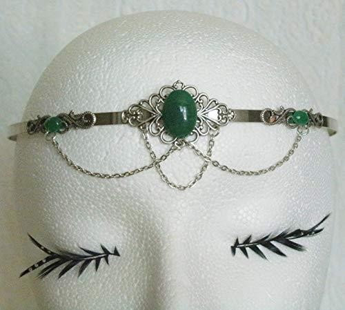 Green Agate Circlet handmade jewelry renaissance medieval victorian edwardian art nouveau art deco tudor celtic headpiece