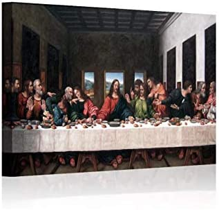 Wall Decor Last Supper Painting Framed Large Jesus Oil Painting Black Canvas Pictures for Living product image