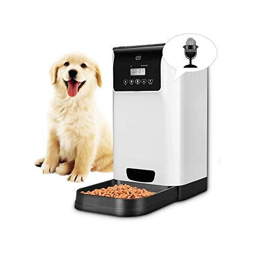 LKNJLL Alimentador automático del gato, gato del animal doméstico del alimentador alimentador automático de perro, porción de control y grabación de voz - temporizador programable hasta 6 comidas al d