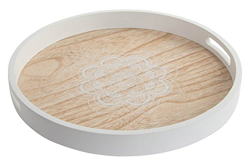 Item Bandeja Servir Decorativa Madera Mandala Blanca 38x38x4 cm