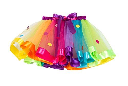 NEXLOMOS Girls Colorful Rainbow Layered Ribbon Tiered Ballet Tutu Skirt (Wafer Rainbow,Medium/4-6 Years)