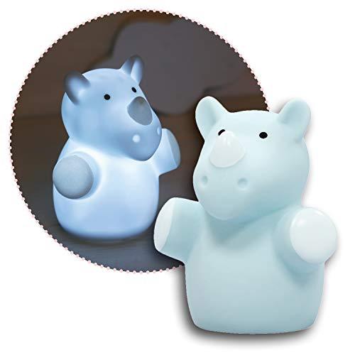 Reer lumilu Mini Zoo Rhino, süßes Nashorn-Nachtlicht, tolles Taufgeschenk, Geburtstags-Geschenk für Jungen und Mädchen, blau, 52343