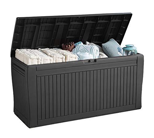 Koll Living Garden Gartenbox mit 270 Liter Fassungsvermögen - wetterfester Stauraum, der Inhalt bleibt trocken und Wird belüftet - Moderne Holzoptik - mit Griffen und Rollen (Anthrazit)