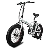 ECOTRIC Fat Tire Folding Electric Bike Beach Snow Bicycle 20' Ebike 500W Electric Moped Electric Mountain Bicycles 36V 12Ah Removable Lithium Battery (White Frame, Blue Rim)