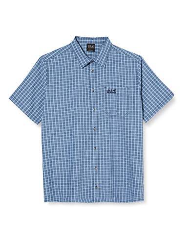 Jack Wolfskin Herren EL Dorado Shirt Men Schnelltrocknendes Outdoor Hemd Kurzarm, Night Blue Checks, XXL