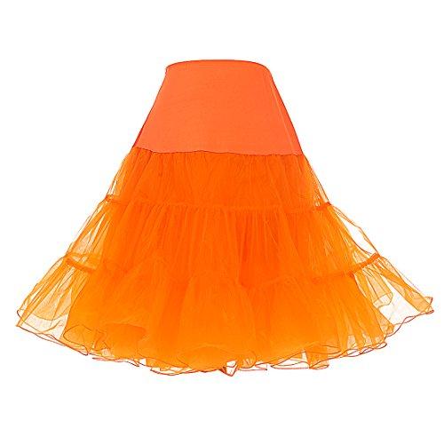 DRESSTELLS Mujeres Cancan 50s Retro Rockabilly Enaguas Miriñaques Faldas Orange S