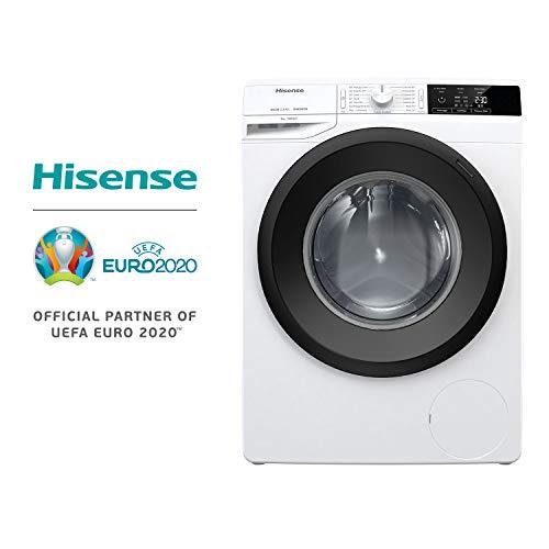 Hisense WFGE9014V Lavatrice freestanding a carica frontale, Capacità 9 Kg, Classe energetica A+++, 1400 giri. Dimensioni (L x P x A) 60 x 61 x 85 cm, Bianco