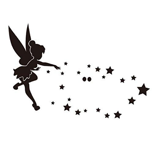 28 Piezas Pegatinas Autoadhesivas de Espejo Pared Calcomanías de Plástico Diseño de Hadas y Estrellas para Adornos de Dormitorio Sala de Estar - Negro