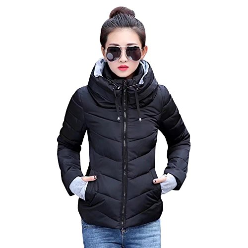 SITENG Womens Winter Jacket Parkas Thicken Plus Size Outerwear Solid Hooded Coats Short Slim Cotton Padded Basic Tops,(Tag XL)Medium,Black