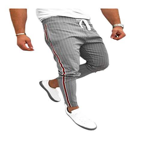 Pantalones Chinos para Hombre Pantalones a Rayas clásicos con cordón Cintura elástica Pantalones de Ocio Ajustados Streetwear Large