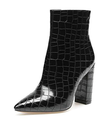 CASTAMERE Botas Cremalleras Mujer Tacón Ancho Botines 10CM Alto Tacón Grieta Negro Zapatos EU 39