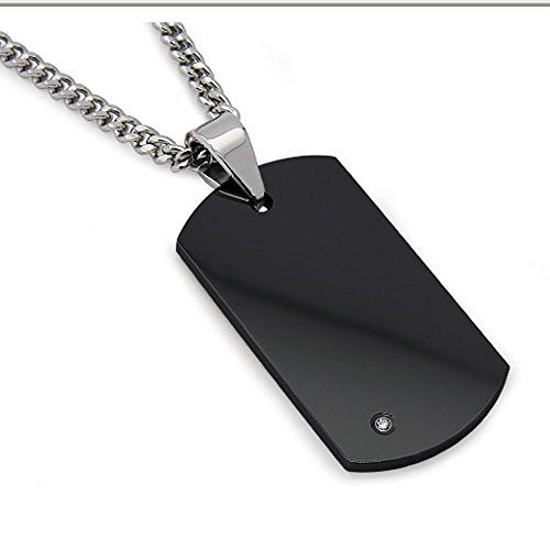 """Metal Masters Co. Men's Black Tungsten Carbide Dog Tag with Real Diamond 24"""" Steel Curb Link Chain"""