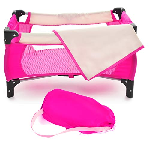 "fash n kolor Doll Pack N Play Crib Fits up to 18"" Dolls Blanket and Carry Bag Included (Hot Pink)"