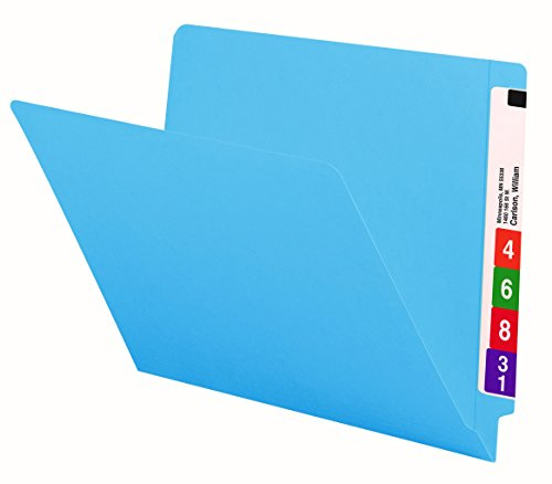 Smead End Tab File Folder, Shelf-Master Reinforced Straight-Cut Tab, Letter Size, Blue, 100 per Box (25010)