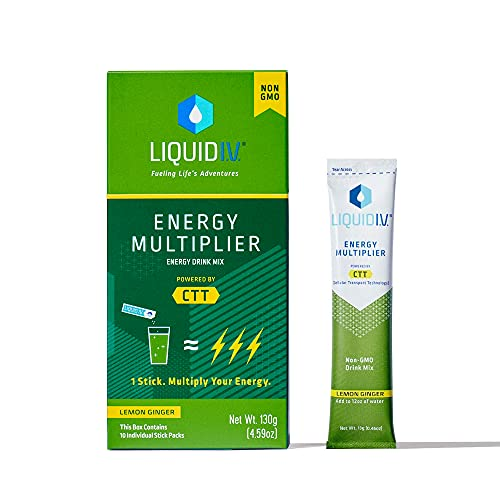Liquid I.V. Energy Multiplier   Sustained Energy Powder Packets   Matcha and Green Energy Blend Drink Mix   Natural Caffeine   Easy Open Single-Serving Stick   Non-GMO   Lemon Ginger/10 Count