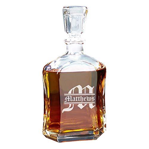 Personalized Whiskey Decanter, Custom Engraved Liquor Decanter - 23 Oz