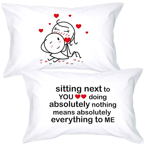 BoldLoft You Mean Everything to Me Couples Pillowcases- Anniversary Presents for Couples-...