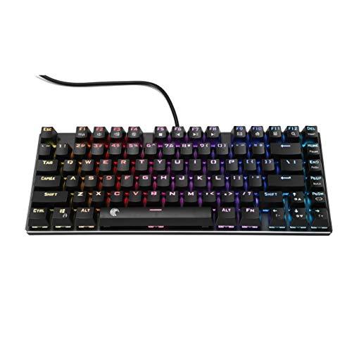 Z-88 TKL Mechanische Tastatur, RGB Beleuchtete, Outemu DIY Schalter mit LED-Beleuchtung, Kompakt 81 Tasten US-Layout Keyboard, Schwarz (QWERTY) (Outemu Blue)