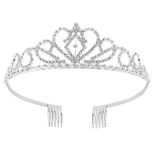 Voarge Hochzeit Braut Strass Krone Tiara mit Kamm für Erwachsene, Kristalle Prinzessin Krone Braut Tiara Diadem für Hochzeit Festzüge, Silber, Blume Krone Stirnband Tiara (Silber)