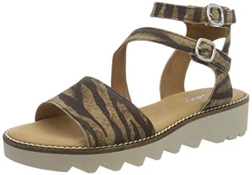 Gabor Shoes Comfort Sport, Sandali con Cinturino alla Caviglia Donna, Beige (Camel 22), 37.5 EU