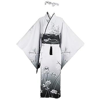 YOMORIO Womens Traditional Japanese Kimono Lolita Anime Cosplay Costume Dress Sexy Lingerie Outfit  L