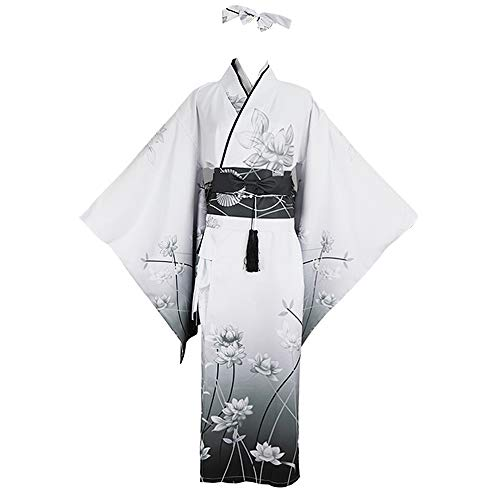 YOMORIO Womens Traditional Japanese Kimono Lolita Anime Cosplay Costume Dress Sexy Lingerie Outfit (L) White
