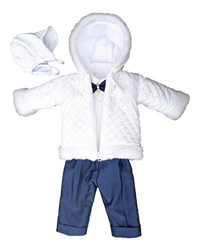 YES Set Winter Taufanzug Festanzug Jacke Winterjacke Hose Hemd Taufe Baby Anzug, Adam, Gr.62, weiß-blau