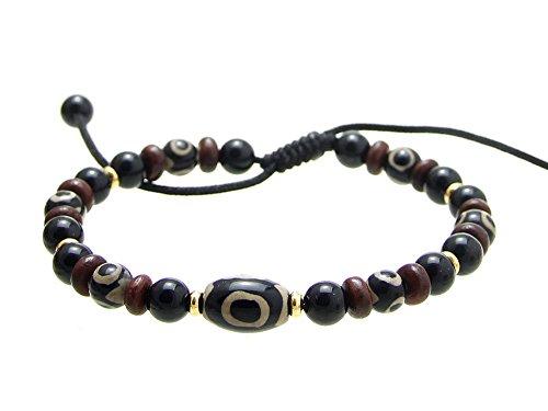 Agathe BP002-Creation-Pulsera tibetain; amuleto-compuesto de piedra dzi (piedra ágata) cocida, de madera, marrón, talla regulable con nudo corredizo, hecho a mano