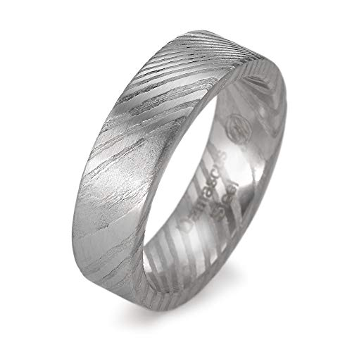 Fingerring Damaszener Stahl, Materialstärke: 2.3 mm, Oberfläche: mattiert, Ringbreite: 6 mm, Zielgruppe: Twogether Grösse 60