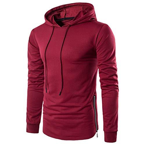 XWLY Sweatshirt Herren Slim Fit Saum Reißverschluss Mode Pullovers Langarm Herren Hoodie Frühling Herbst Baumwollmischung Atmungsaktives Leichtes Lässiges Jugend Sweatshirt Red. S