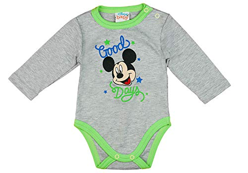 Kleines Kleid Junge Baby Body Lang-Arm mit Mickey Mouse in Blau oder Grau (Modell 2, 56)
