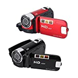 Cámara de vídeo Full HD de 2,7 pulgadas, FHD 1080P, 16X, 32G, Lente de 7,6 mm, Rotación de 270 °, Rango de enfoque de 1,2 m hasta el infinito, Videocámara digital para Vlogging, Youtube(rojo)