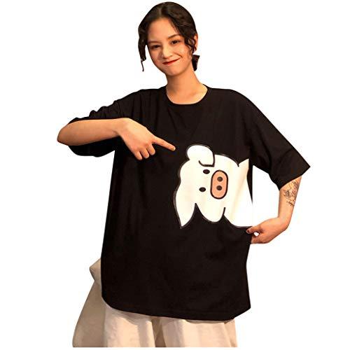 SatinGold Kurzarm T-Shirts P?rchen Lockerer Tops Schwein Muster, Damen Sü?e Sommer Mode Hemd Baggy Couple Shirts Oberteile