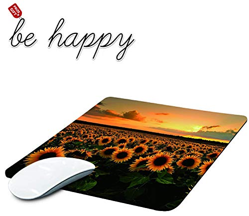 Gaming Mouse Pad, Sunflower Field Mouse Pads for Laptop Non-Slip Rubber Base Mousepad Computers and Office, Rectangle Cute Mouse Mats and Be Happy Computer Stickers