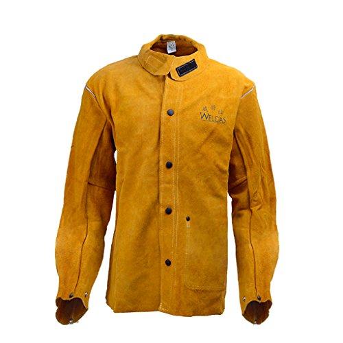 Almencla Soldador De Cuero De Vaca Resistente Al Calor Chaqueta DE Soldadura con Collar Protect - Amarillo, M