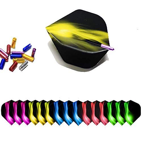 ToBeIT Alu Dart Flyschutz 15 Stücke + Dart Flights 15 Stücke - 5 Sets Dart Flights-Schutz Dart Flight protektors (5 Farbe)