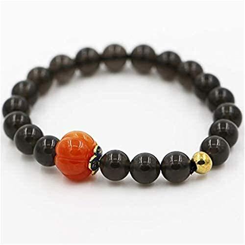 XIAOGING Natural Black Obsidian Feng Shui Pulsera de la riqueza con perlas de Buda de la calabaza Pulsera de los encantos afortunados Atraer la buena suerte Dinero Love Jade Bangle Regalo para hombres