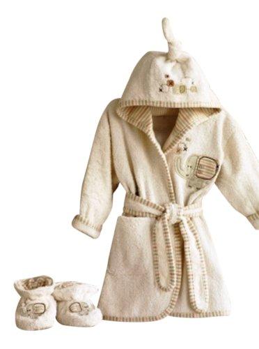 Bio Baby Bademantel und Baby Hausschuhe Set Safari