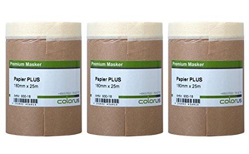 3 x Colorus Malerkrepp Papiermasker PLUS | Abdeckpapier mit Klebeband 18 cm x 25 m Masker Tape | Feinkrepp mit Malerabdeckpapier für Innen | Selbstklebendes Malerpapier | Abklebeband Papier