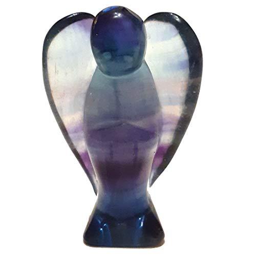 Regenbogen-Fluorit Stein-Engel Figur 5 cm | Edelstein Glücksbringer Schutzengel für Ihre Tasche zur Deko für Ihr Heim| Heilstein und Geschenk