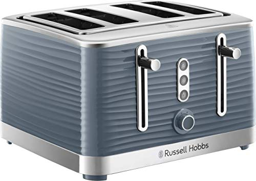 Russell Hobbs 24383 Grey Inspire 4 Slice Toaster, Wide Slot with Lift and Look Feature, High Gloss Chrome Accents, 1800 W