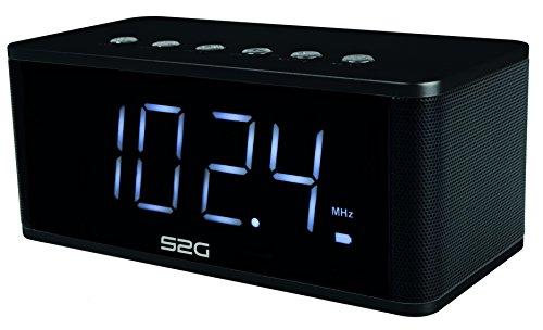 S2G WAKEUP von SOUND2GO - 2x5 Watt Bluetooth Stereo-Lautsprecher, Micro-SD Slot, USB-Player, FM-Radio, Freisprecheinrichtung und Uhr inklusive Weckerfunktion - schwarz