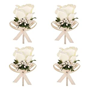 Aivanart 1/4/8 Pcs Rose Boutonnieres Groom Flower for Wedding Party Prom Man Suit Decoration